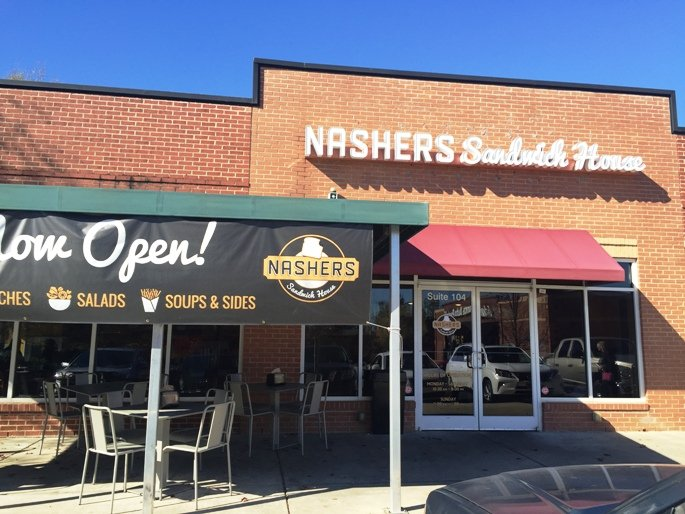 Front of Nashers Sandwich House, Raleigh